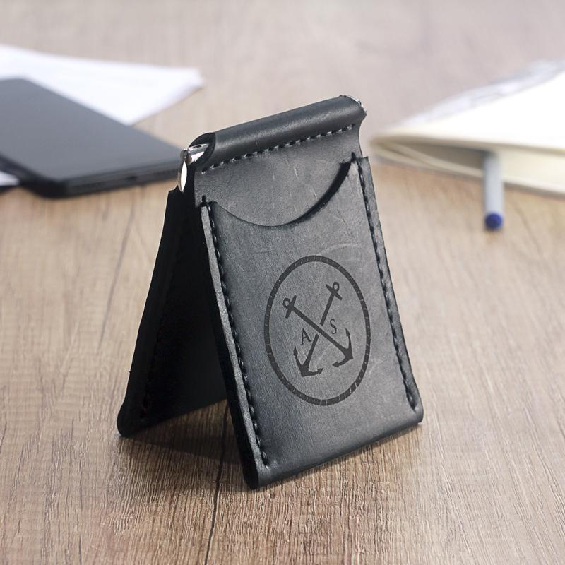 Зажим для Денег (купюр), Мужское портмоне, Кошелёк для карт OldSalt - Чёрный + Подарок браслет