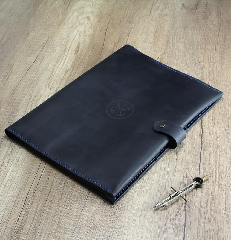 Кожаная Папка для морских Документов (А4) - гравировка + брелок в подарок! Папка моряка, органайзер.