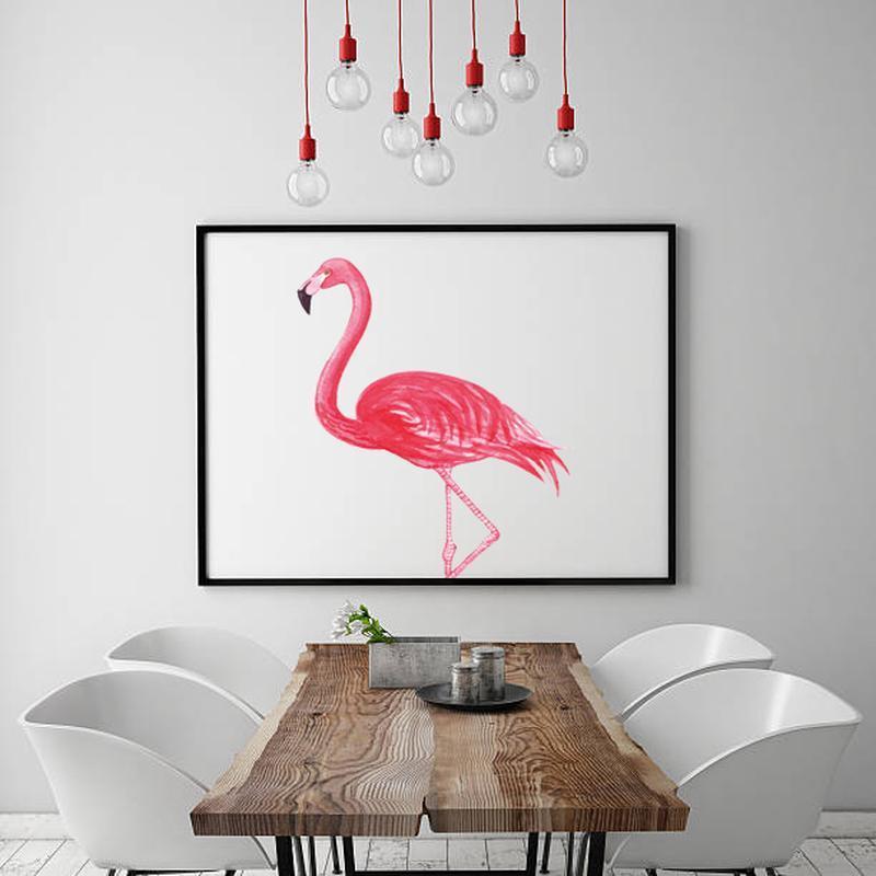 Графический постер Фламинго