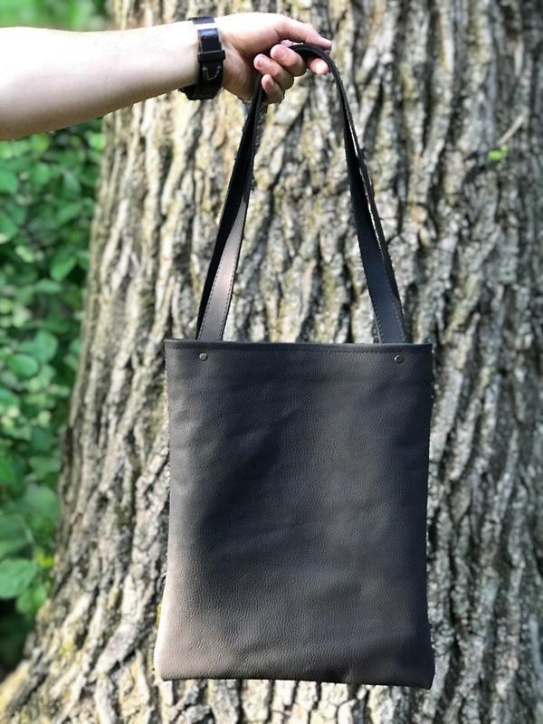 c64f4d82424f Практичная сумка-шоппер из натуральной кожи чёрного цвета ручной ...