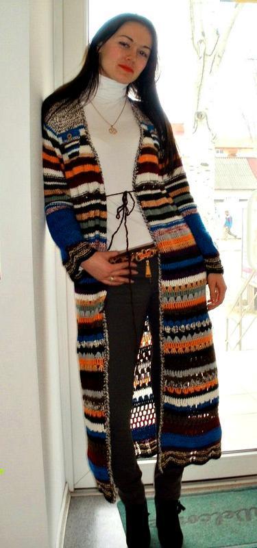 вязаное пальто шазюбль яркая полоса ручной работы купить в украине