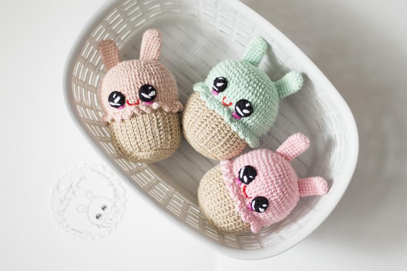Кекс заяц розовый, вязаный капкейк ,игрушка крючком, вязаная еда амигуруми