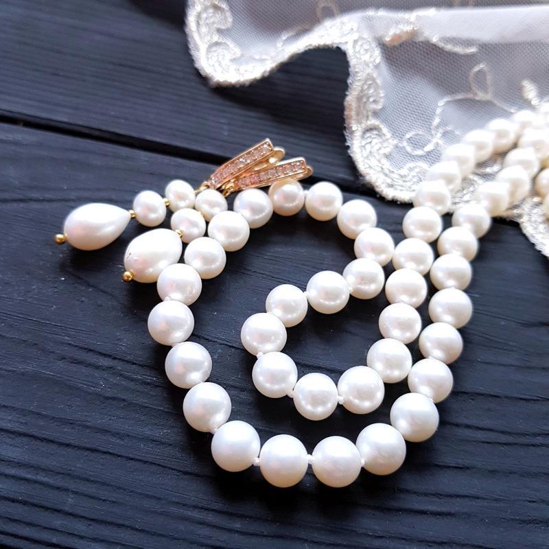 Довге намисто з натуральних білих перлів високого класу довге намисто з натуральних перлів