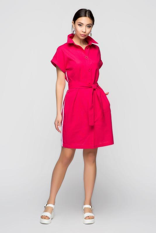 d9cce7772c7 Льняное платье-рубашка яркого малинового цвета с белым лампасом ...