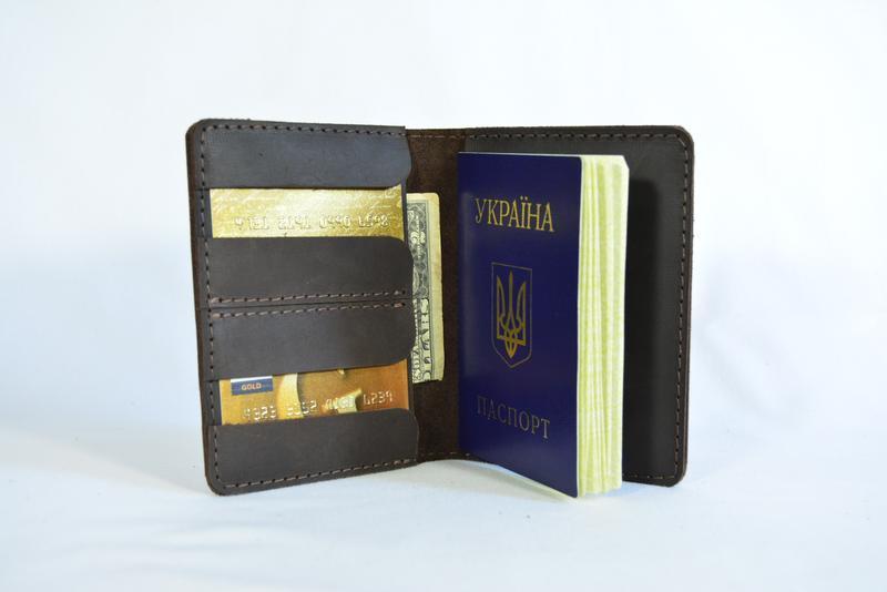 Кожаная обложка на Паспорт, кожа Crazy Horse, цвет Шоколад