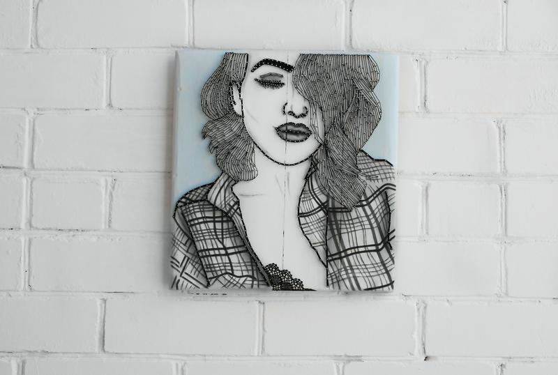 "Картина ""Девушка"" в технике stringart"
