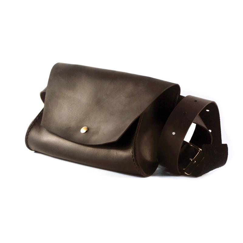 Женская Cross-body сумка + Подарок. Сумка из натуральной кожи на пояс. Поясная кожаная сумка