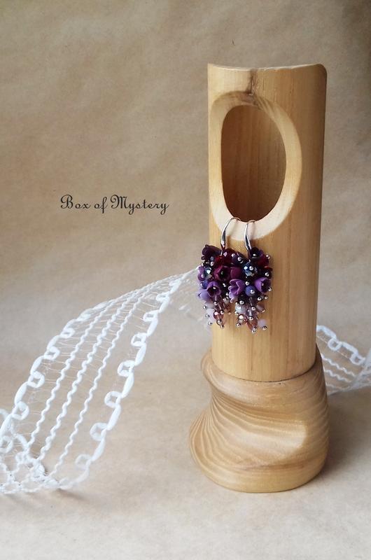 Бордовые серьги грозди, серьги с миниатюрными цветами