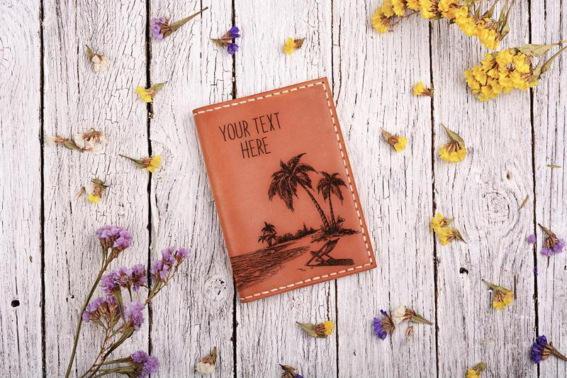 """Обложка для паспорта с гравировкой """"Пляж"""""""