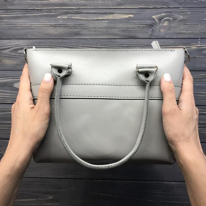 41c0cbe2f9a2 Женская кожаная сумочка на молнии с ручками и ремешком Aurora mini gray - 3  вида кожи, 20 цветов