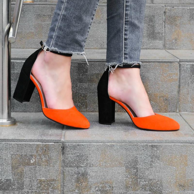 731c1833f Kylie Orange - туфли на устойчивом каблуке ручной работы купить в ...