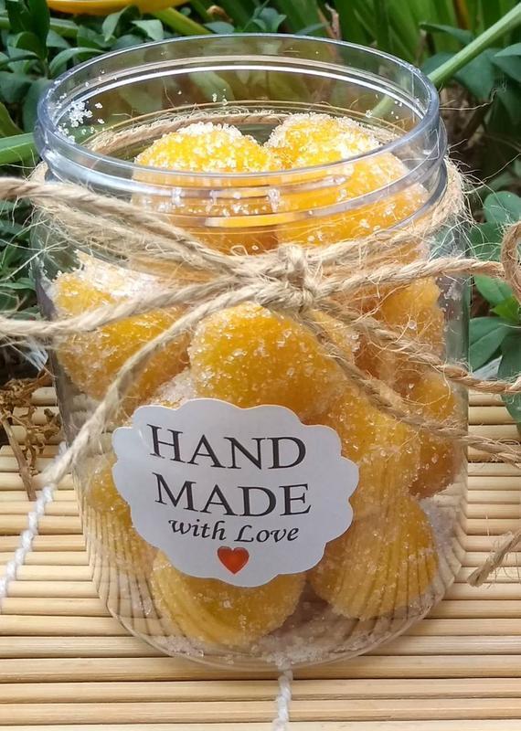 Натуральный сахарно-соляной скраб для тела ,,Сладкие шарики,,- Апельсиновый