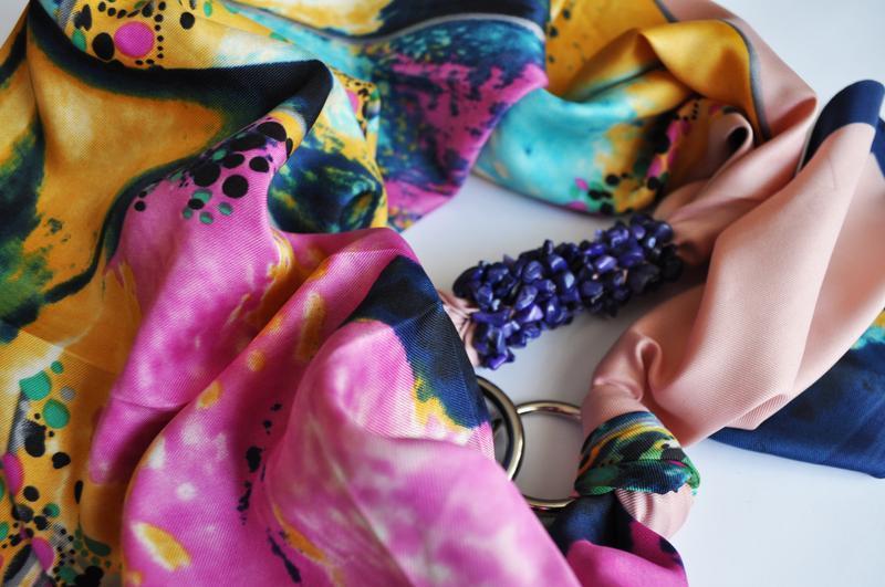 """""""Лунная соната"""" атласный шарф, атласный платок, шарф-колье, шарф-чокер, шейный платок"""