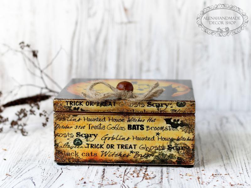 Скринька з дерева для чаю або спецій Trick-or-Treat Halloween