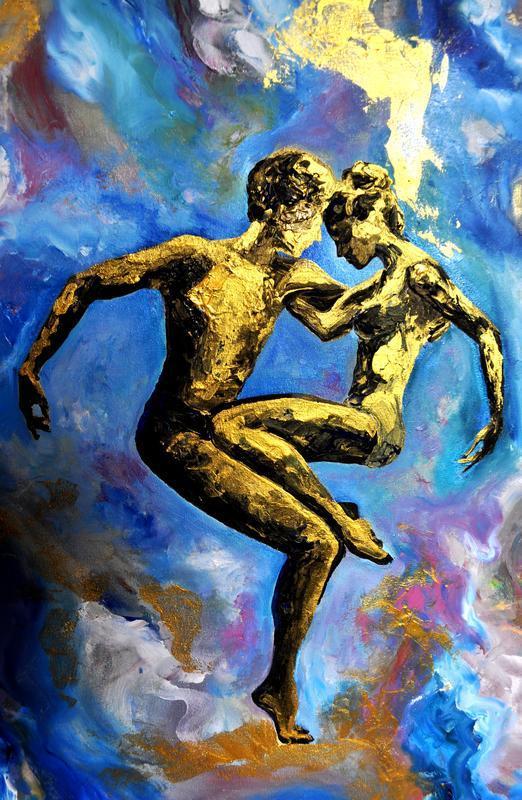 «Вечность», золотая картина маслом, золотая пара в танце, 80 х 60 см