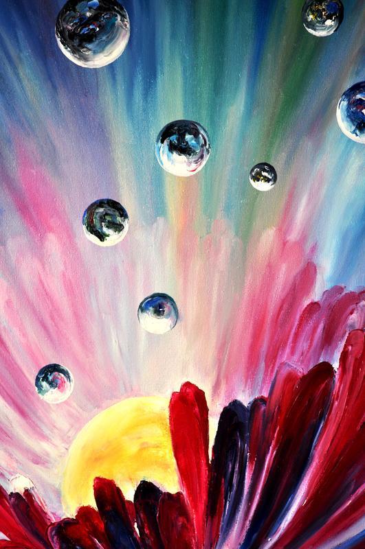 """""""Новая галактика"""", картина маслом, космический цветок, 80х60 см"""