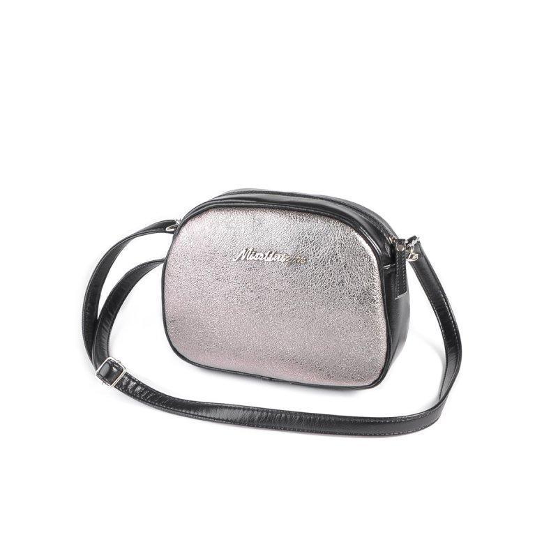 da7f2247d3c9 Мини-сумочка круглой формы Серебро-черная ручной работы купить в ...