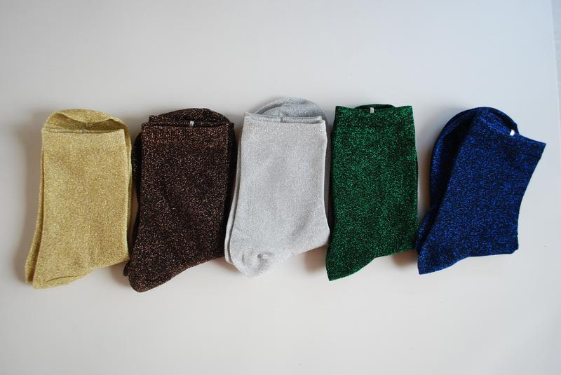 Блестящие носки с люрексом / носочки с металлическим отливом глиттер