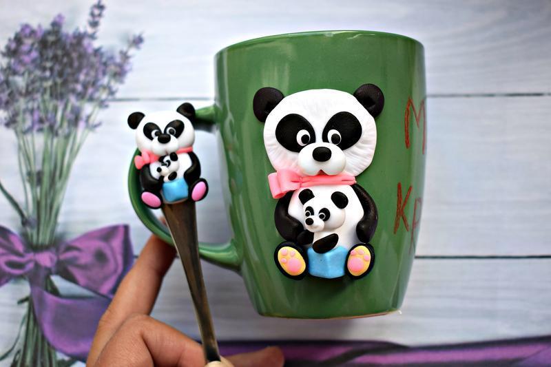 Кружка панда, чашка панда, кружка с декором, чашка с декором, чашка из полимерной глины, детская чаш