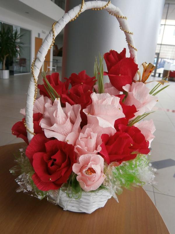 Большие букеты в корзине своими руками, цветы