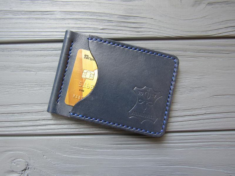 Зажим для денег из натуральной кожи STEFAN_синий_340
