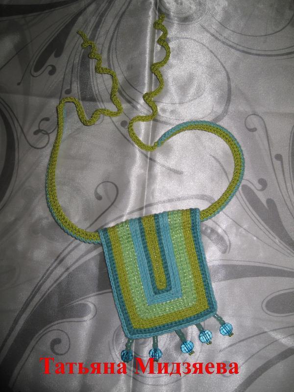 """Авторское украшение ( колье, кулон, бусы ) """"Тропиканка"""" ручной работы вязаное крючком, jewelry, bead"""