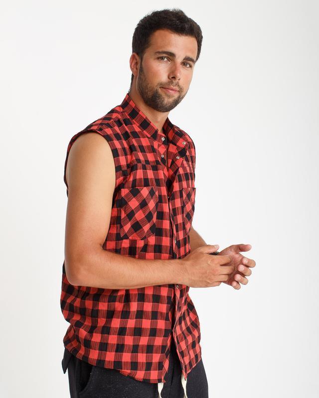 Рубашка без рукавов, крупная красно-черная клетка