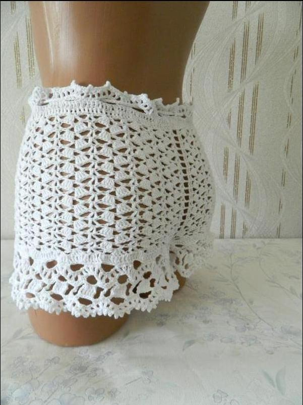 Шикарные белые ажурные шорты вязаные шорты кружево 100% хлопок hand made р. xs/s