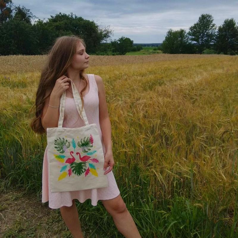 Еко сумка фламінго