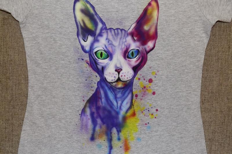 Женская футболка с  принтом кот,  рисунком, на лето