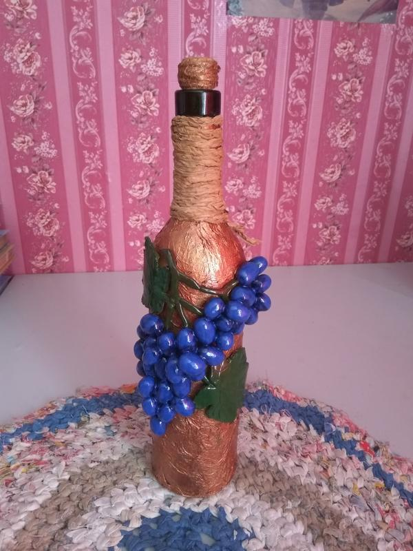"""Подарочная декоративная бутылка """"Грона винограда"""""""