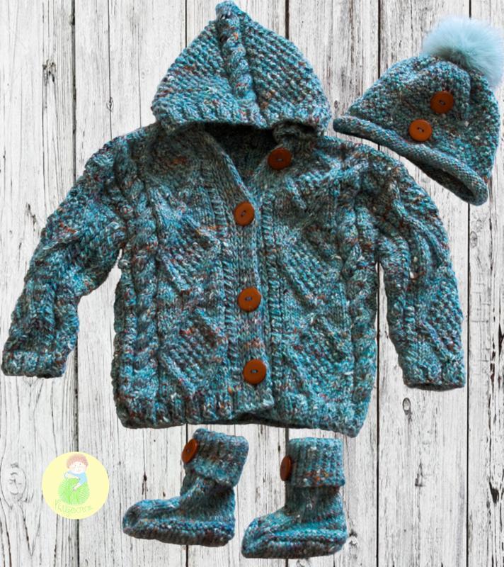 вязаный детский кардиган кофта пальто шапочка и пинетки носочки
