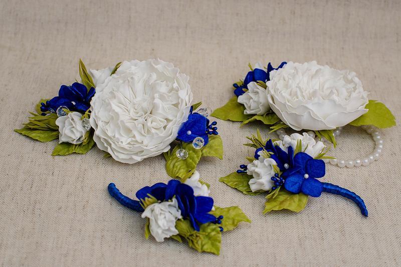 Набор бутоньерок для жениха, свидетеля и свидетельницы, украшение для невесты в едином стиле